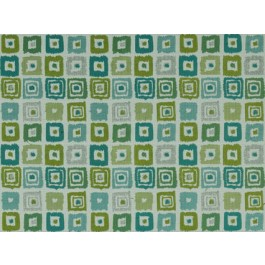 Bebop Isle Waters Blue Green Contemporary  Geometric Square Upholstery Covington Fabric