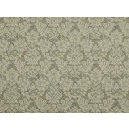 Bizou Linen Taupe Damask Floral Print On Basketweave Cotton Covington Fabric