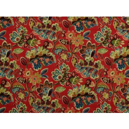 Magritte Firecracker Red Bright Floral Print On Heavy Cotton Duck Covington Fabric