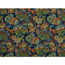 Magritte Indigo Blue Bright Floral Print On Heavy Cotton Duck Covington Fabric