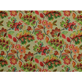 Magritte Summer Pink Green Multicolored Bright Floral Print On Heavy Cotton Duck Covington Fabric