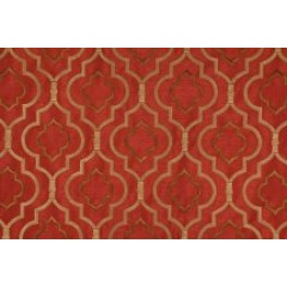 Red Brown Embroidered Geometric Curtain Agnes Crimson Swavelle Mill Creek Fabric