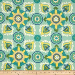 Light Turquoise Blue Outdoor Suzani Print Callo Summer Shower Swavelle Mill Creek Fabric