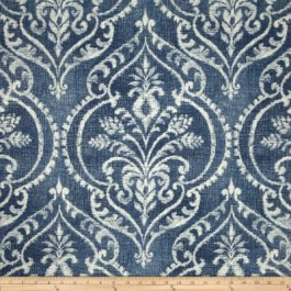 Blue Damask Print Dalusio Denim Swavelle Mill Creek Fabric