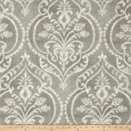 Taupe Damask Print Dalusio Pebble Swavelle Mill Creek Fabric