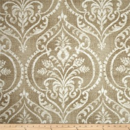 Tan Damask Print Dalusio Sand Swavelle Mill Creek Fabric