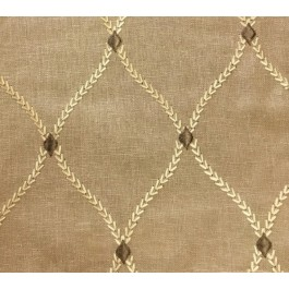 Tan Taupe Embroidered Trellis Curtain Engaging Barley Swavelle Mill Creek Fabric