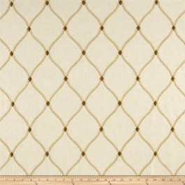 Tan Gold Embroidered Trellis Curtain Engaging Ecru Swavelle Mill Creek Fabric
