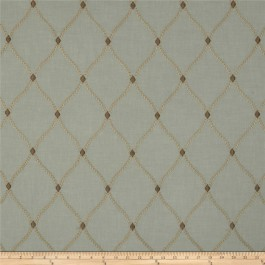 Light Teal Taupe Gold Embroidered Trellis Curtain Engaging Porcelain Swavelle Mill Creek Fabric