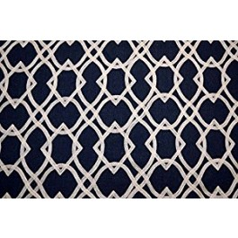 Dark Blue Embroidered Geometric Forget Me Knots Ink Swavelle Mill Creek Fabric