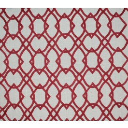 Tan Red Embroidered Geometric Forget Me Knots Vermillion Swavelle Mill Creek Fabric
