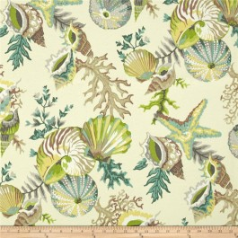 Green Seashell Coral Outdoor Print Grantoli Mineral Swavelle Mill Creek Fabric