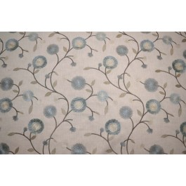 Blue Taupe Embroidered Vine Leaf Mable Porcelain Swavelle Mill Creek Fabric