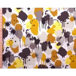 Brown Mustard Yellow Watercolor Paint Outdoor Print Neddick Thunder Swavelle Mill Creek Fabric