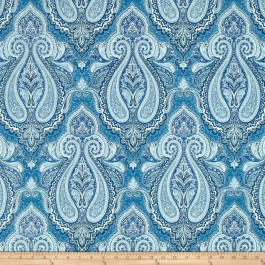 Blue Outdoor Damask Print Pelton Heavenly Swavelle Mill Creek Fabic