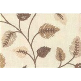 Brown Embroidered Leaves Philippa Mocha Swavelle Mill Creek Fabric
