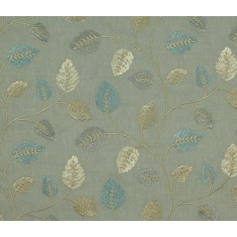 Grey Blue Embroidered Leaves Philippa Nile Swavelle Mill Creek Fabric