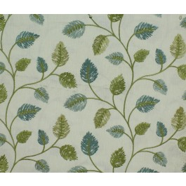 Blue Green Embroidered Leaves Philippa Summer Swavelle Mill Creek Fabric