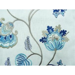 Blue Embroidered Floral Phyllis Marine Swavelle Mill Creek Fabric