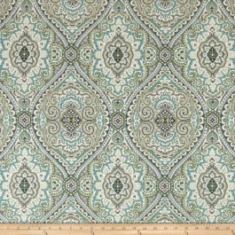 Grey Turquoise Damask Medallion Print Purana/CL Breeze Swavelle Mill Creek Fabric