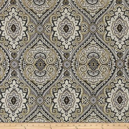 Grey Yellow Damask Medallion Print Purana/CL Graphite Swavelle Mill Creek Fabric