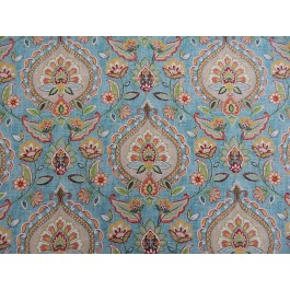 Turquoise Blue Damask Floral Print Quintell Riviera Swavelle Mill Creek Fabric