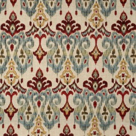 Red Yellow Blue Ikat Chenille Upholstery Sandoa Flame Swavelle Mill