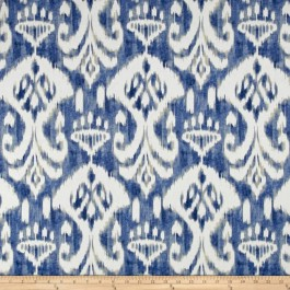 Blue Ikat Damask Print Voisey Ocean Blue Swavelle Mill Creek Fabric