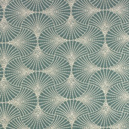 Downing Verdant Teal Green Embroidered Geometric Starburst Richloom Fabric