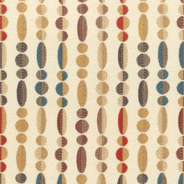 Abacus Peacock Cream Teal Red Contemporary Geometric Jacquard Upholstery Regal Fabric