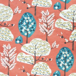 Pink Floral Tree Print Heavy Cora Coral Regal Fabric
