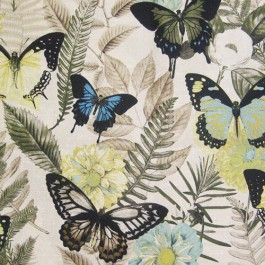 Janelle Azure Blue Green Large Tropical Butterfly Print Regal Fabric