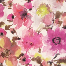 Judith Fuschia Pink Large Watercolor Floral On Soft Suede Feel Regal Fabric
