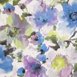 Judith Plum Purple Blue Large Watercolor Floral On Soft Suede Feel Regal Fabric