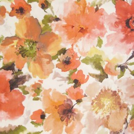 Judith Spice Orange Large Watercolor Floral On Soft Suede Feel Regal Fabric