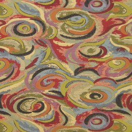 Zoom Fiesta Contemporary Swirl Multicolor Upholstery Regal Fabric