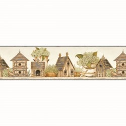 FFR05032B Elvin Blue Birdhouse Cottage Garden Wallpaper Border