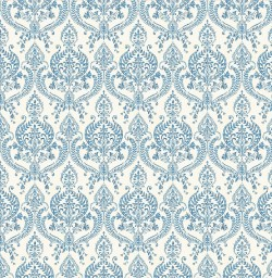 Waverly Indigo Petite Damask Wallpaper