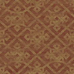 AD1288 Metallic Gold Geometric on Rusted Red Wallpaper