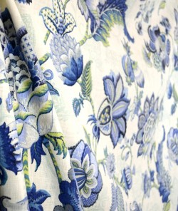 Blue & Green Curtain Fabric Adelaide Blue Bell Pkaufmann