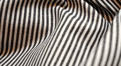Black White Pinstripe Fabric DE74 Essex Charcoal