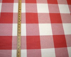 Red & Slightly Off White Buffalo Check Call Me Firecracker Kaufmann Fabric