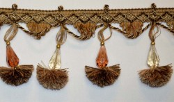 1469 9551 Brown Gold Beaded Tassel Trim