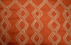 REMNANT Terracotta Embroidered Fabric 50 inches x .5 yards