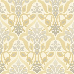 Fusion  Yellow Ombre Damask Wallpaper