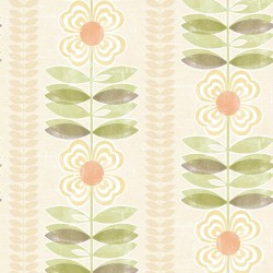 Flora Yellow Modern Floral Stripe Wallpaper