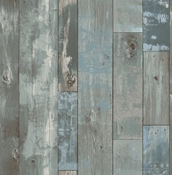 2540-24053 Deena Blue Distressed Wood Wallpaper