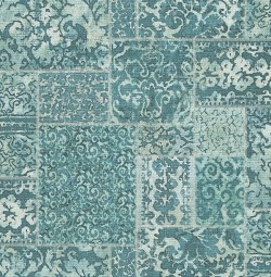 2540-24060 Esma Teal Vintage Carpet Wallpaper