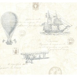 Explorer Teal Antique Map Wallpaper