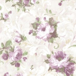 Jasmine Purple Floral Scroll Wallpaper